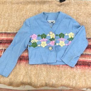 Jackets & Blazers - Vintage crop cotton embroidered jacket bolero